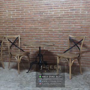 Harga Jual Kursi Meja Cafe Industrial Kombinasi Jati