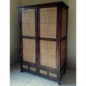 Lemari Pakaian Minimalis Bamboo Teak 2 Pintu Natural