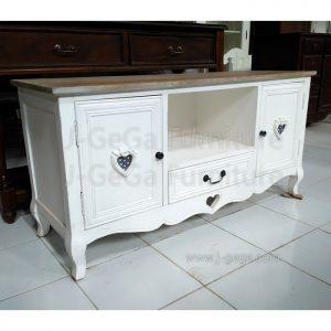 Jual Meja Rak TV Cabinet White Shabby Pintu Love