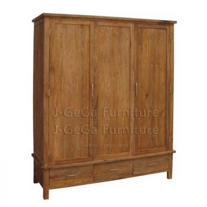 jual lemari baju minimalis kayu jati 3 pintu 3 laci