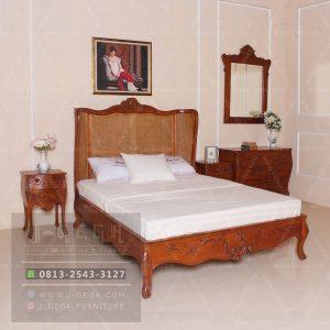 jual set kamar tidur mewah curved kayu jati