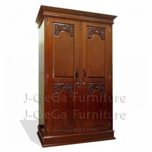 lemari baju majapahit 2 pintu kayu jati