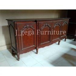 Buffet Antik Ukiran Jepara 4 Pintu Natural Finish