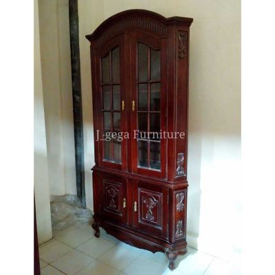 Jual Cabinet Lemari Pajangan Antik 2 Pintu Kaca Ukiran