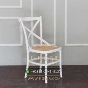 Jual Kursii Cafe Cross Back White Rattan