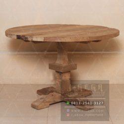 Meja Makan Rustic Jati Bundar 120 Model Minimalis
