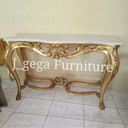 meja konsole antik cat emas pakai marmer