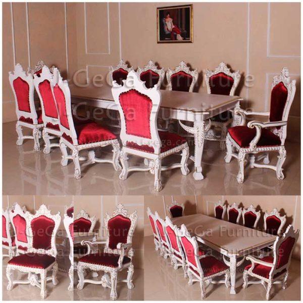 meja makan mewah set kursi makan istana