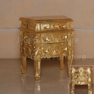 nakas racoco 3 laci gold decor ukiran antik