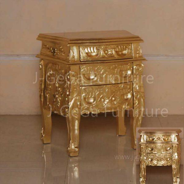 nakas racoco 3 laci gold decor ukiran antik