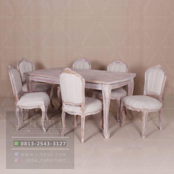 Jual Teak Louis Fleur De lea Dining Set