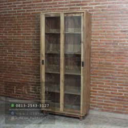 Teak Wood Texas Sliding Cabinet 2 Door Reclaimed
