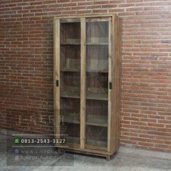 Teak Wood Texas Sliding Cabinet 2 Door Reclaimed